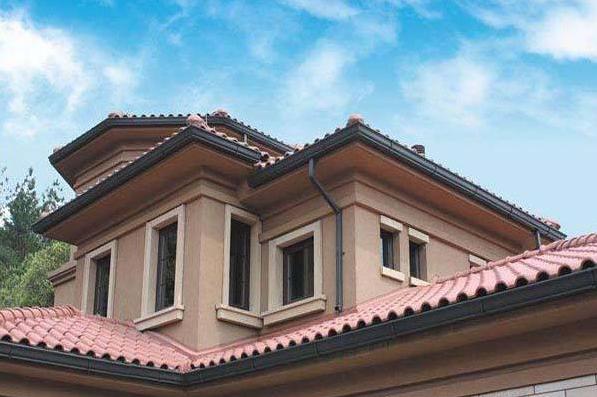 PVC排水槽,雨水排水管道,合成树脂瓦,别墅排水系统